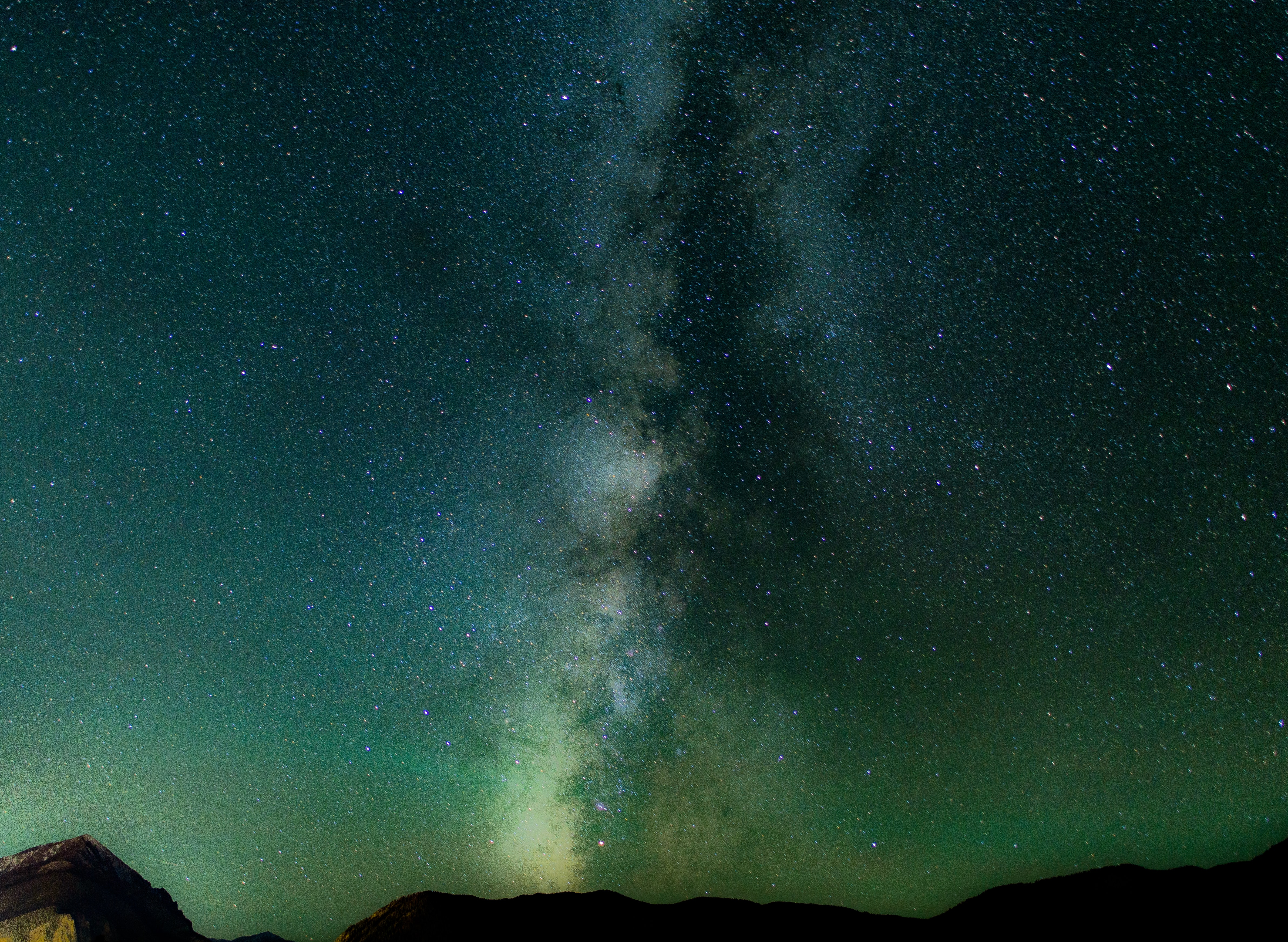 The Milky Way rises above the hills in Silverthorne