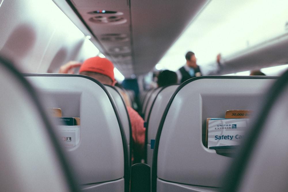 macro shot of gray plane seats