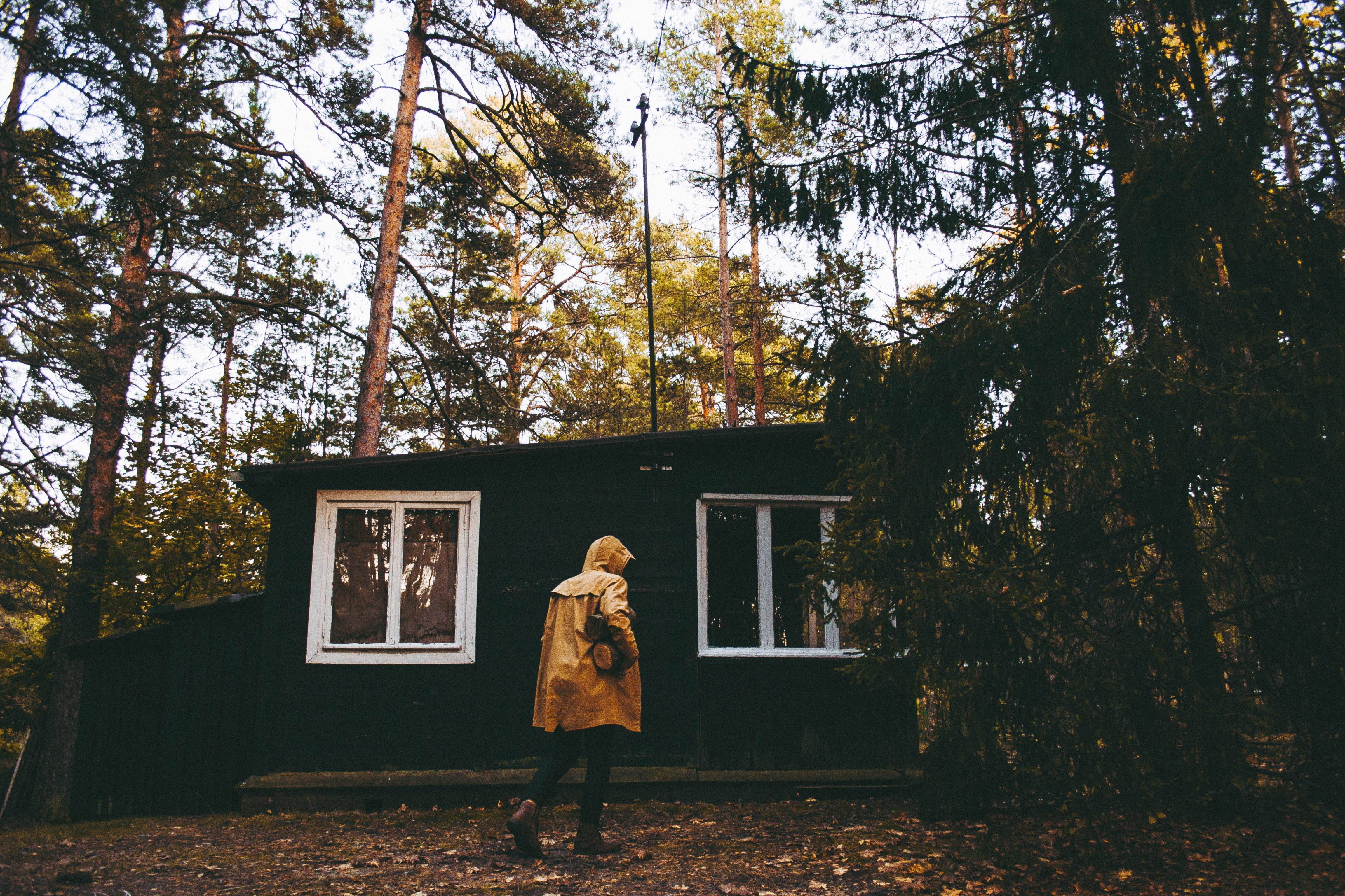 A person walking with a raincoat in the forest in front of a cabin