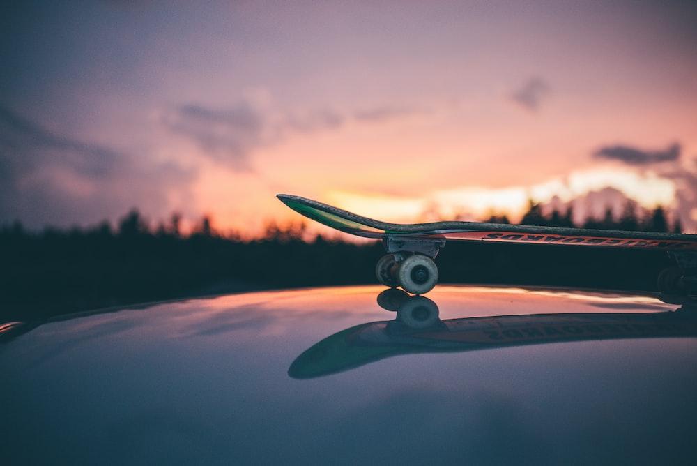 skateboard on top of glazed surface