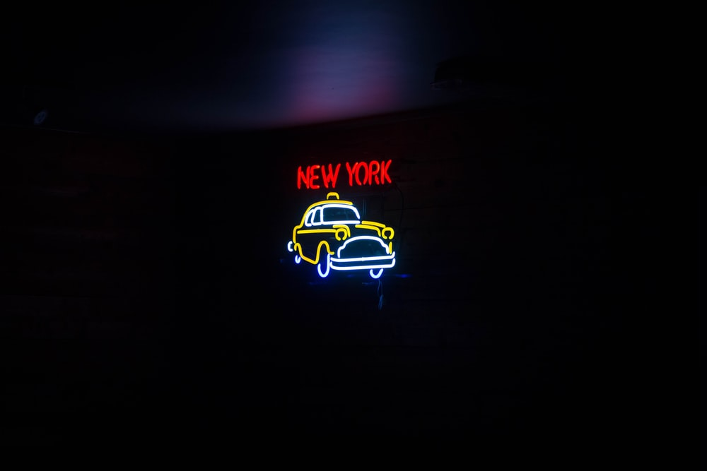 red and yellow New York neon light signage