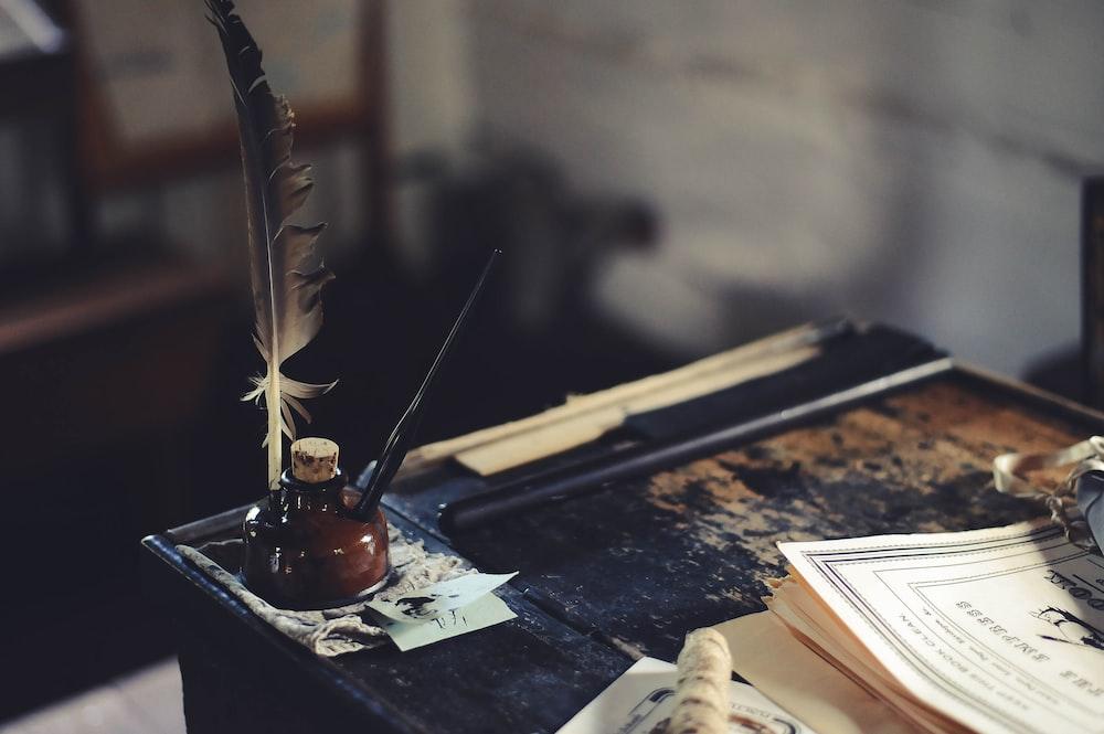ink bottle on desk