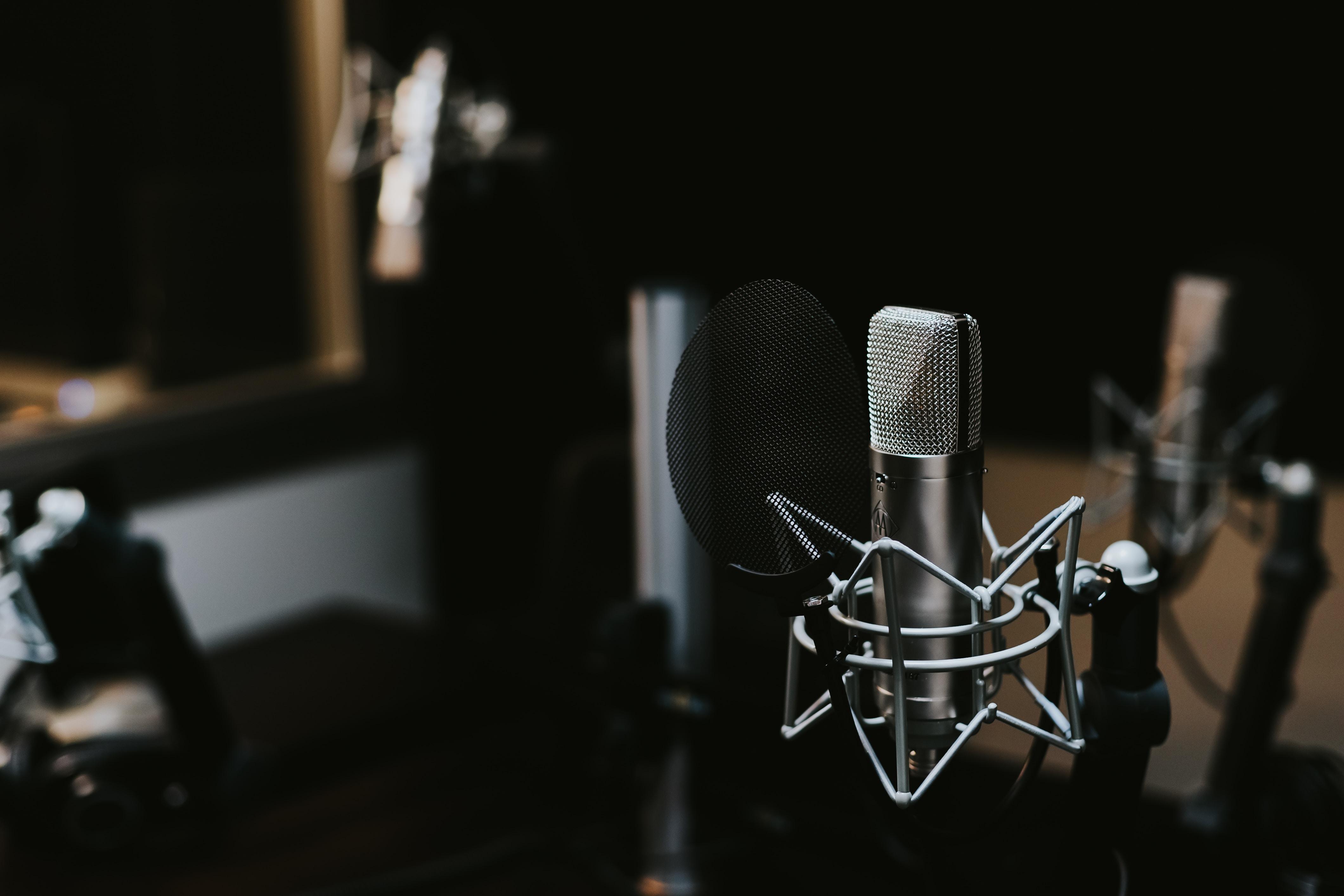A professional microphone in a recording studio