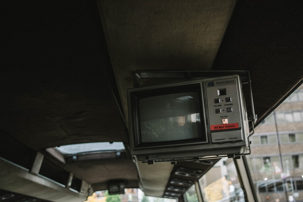 gray CRT TV