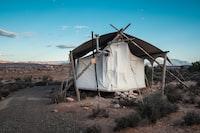 white curtain on hut
