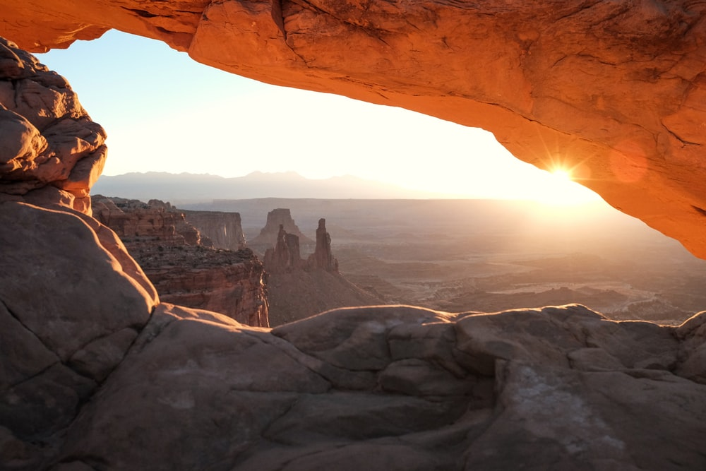 rock cave during golden hour