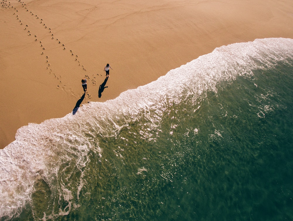 aerial photography of two person walking on shore