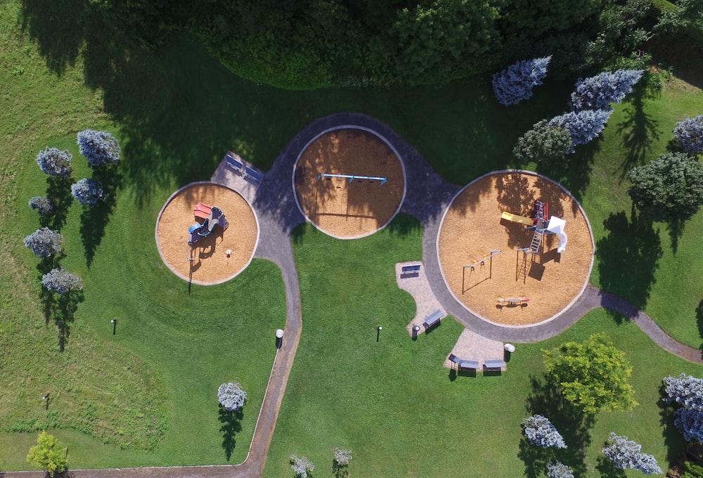 bird's eye view of playground