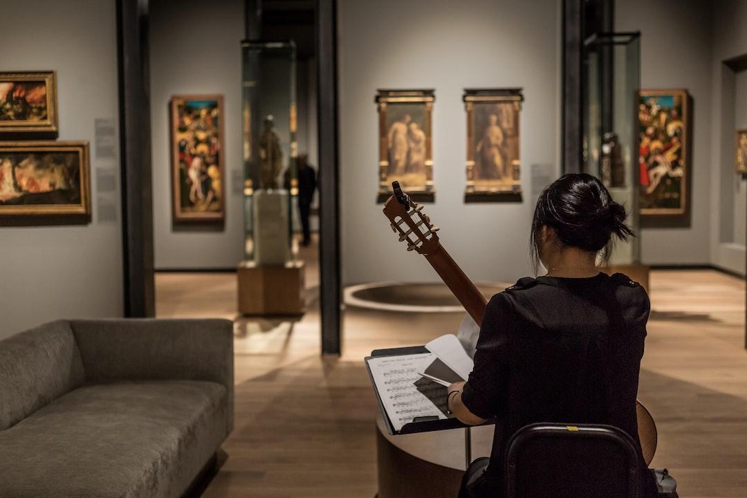 Guitarist in an art museum