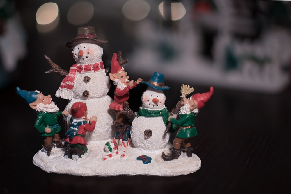 multicolored snowman figurine