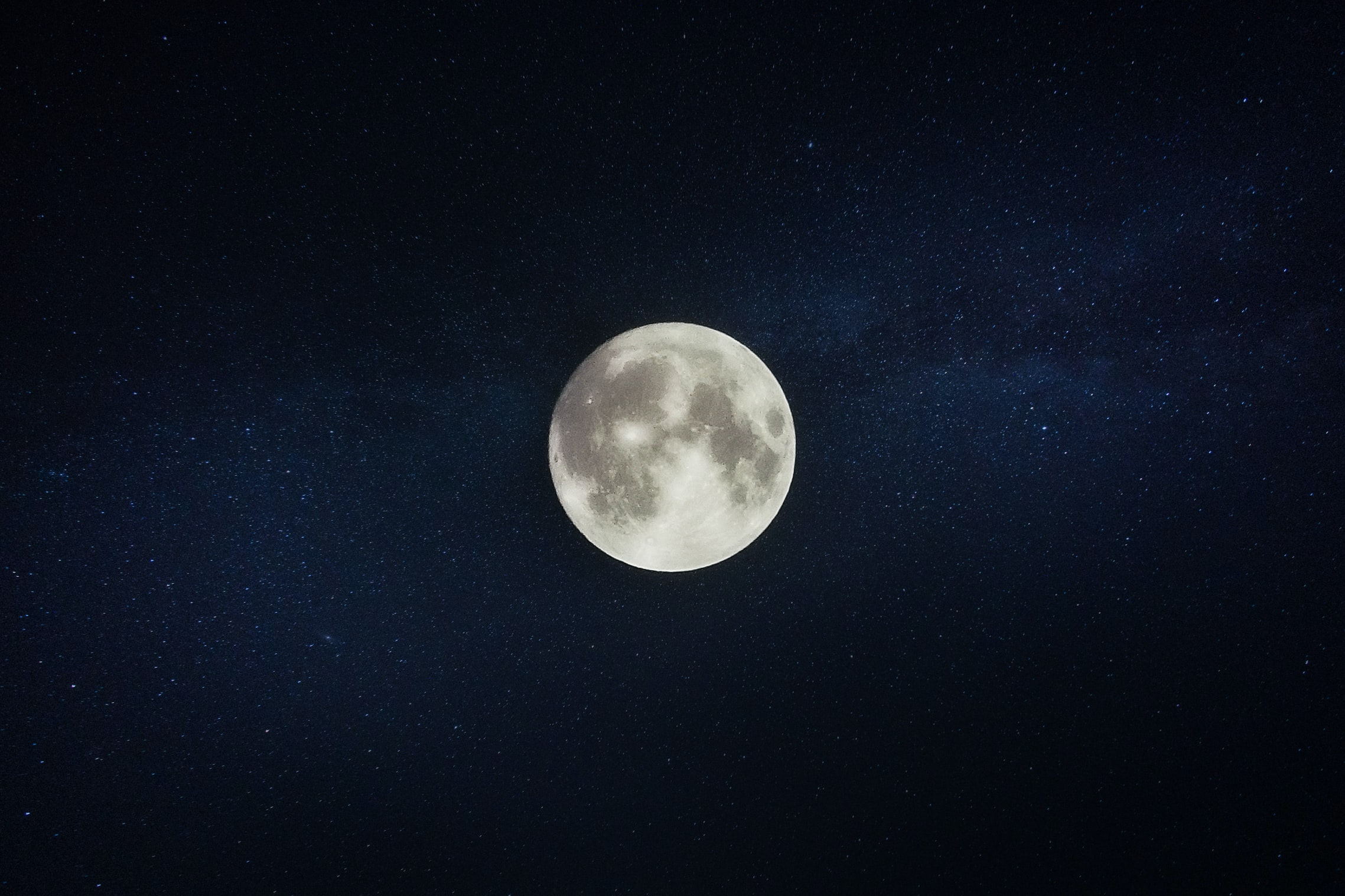 The full moon on a starry sky over Mainz