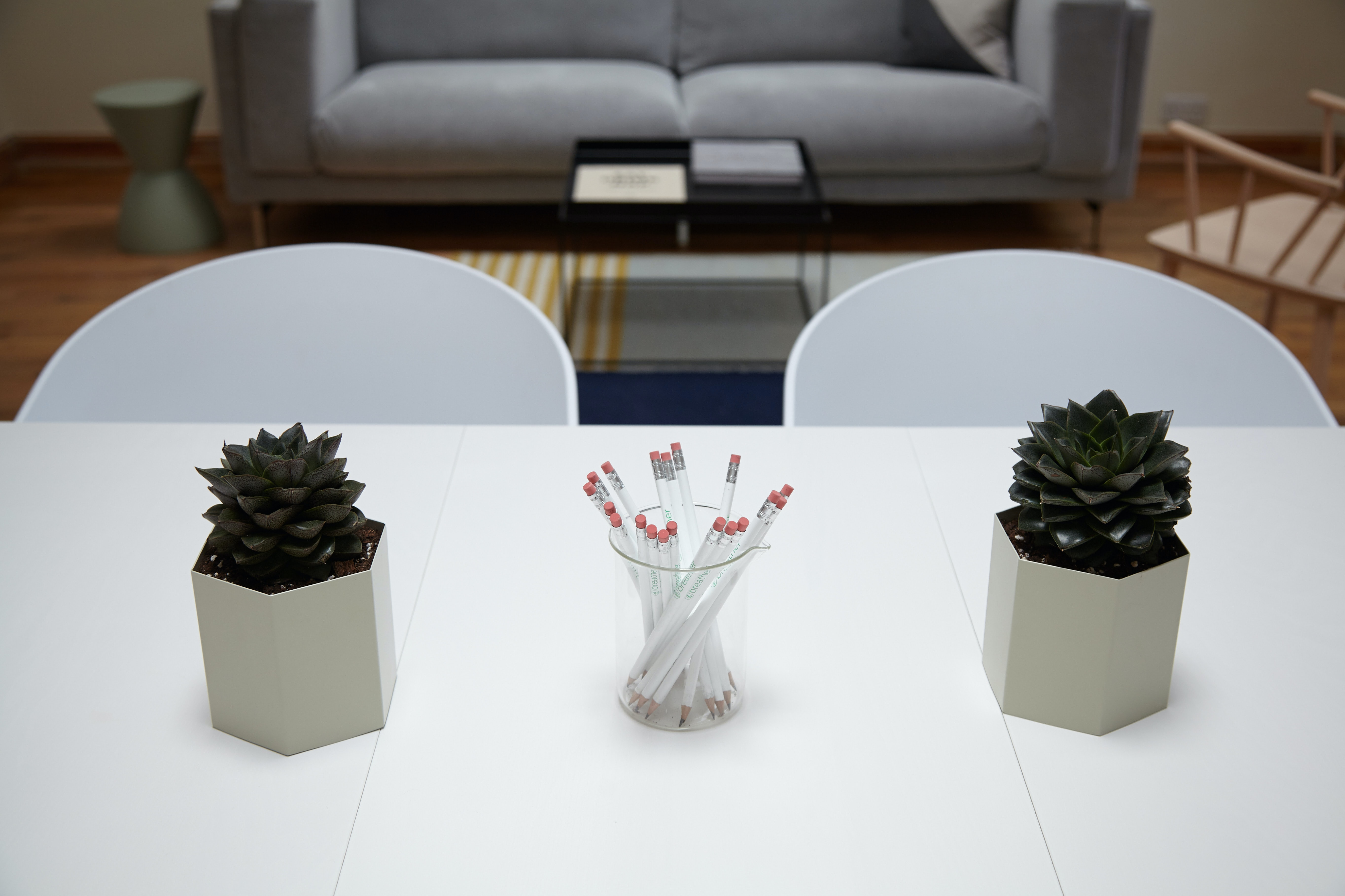 A cup full of pencils and two small potted plants on a white table in an office