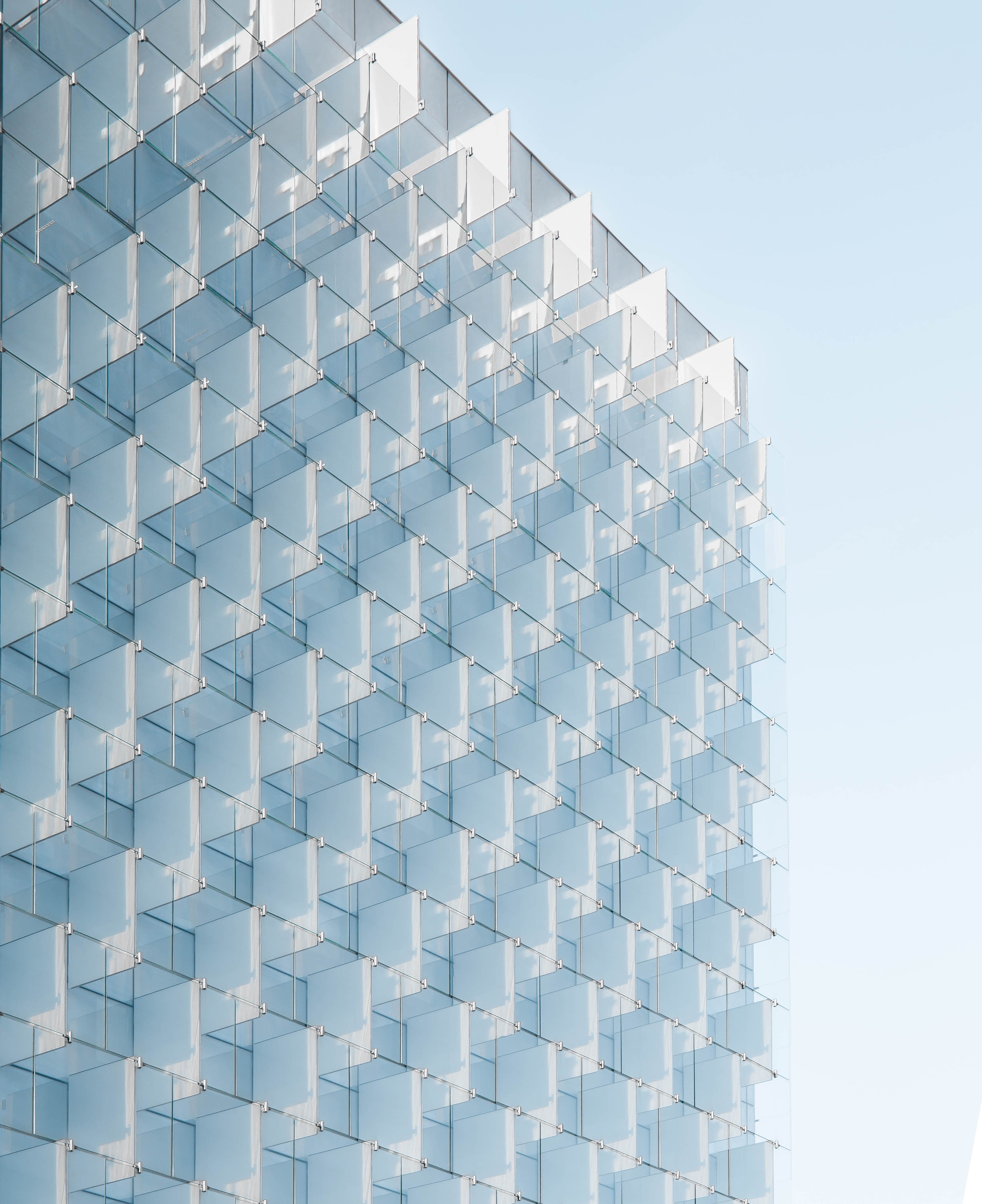 Regular glass plates in the facade of an office building in Madrid
