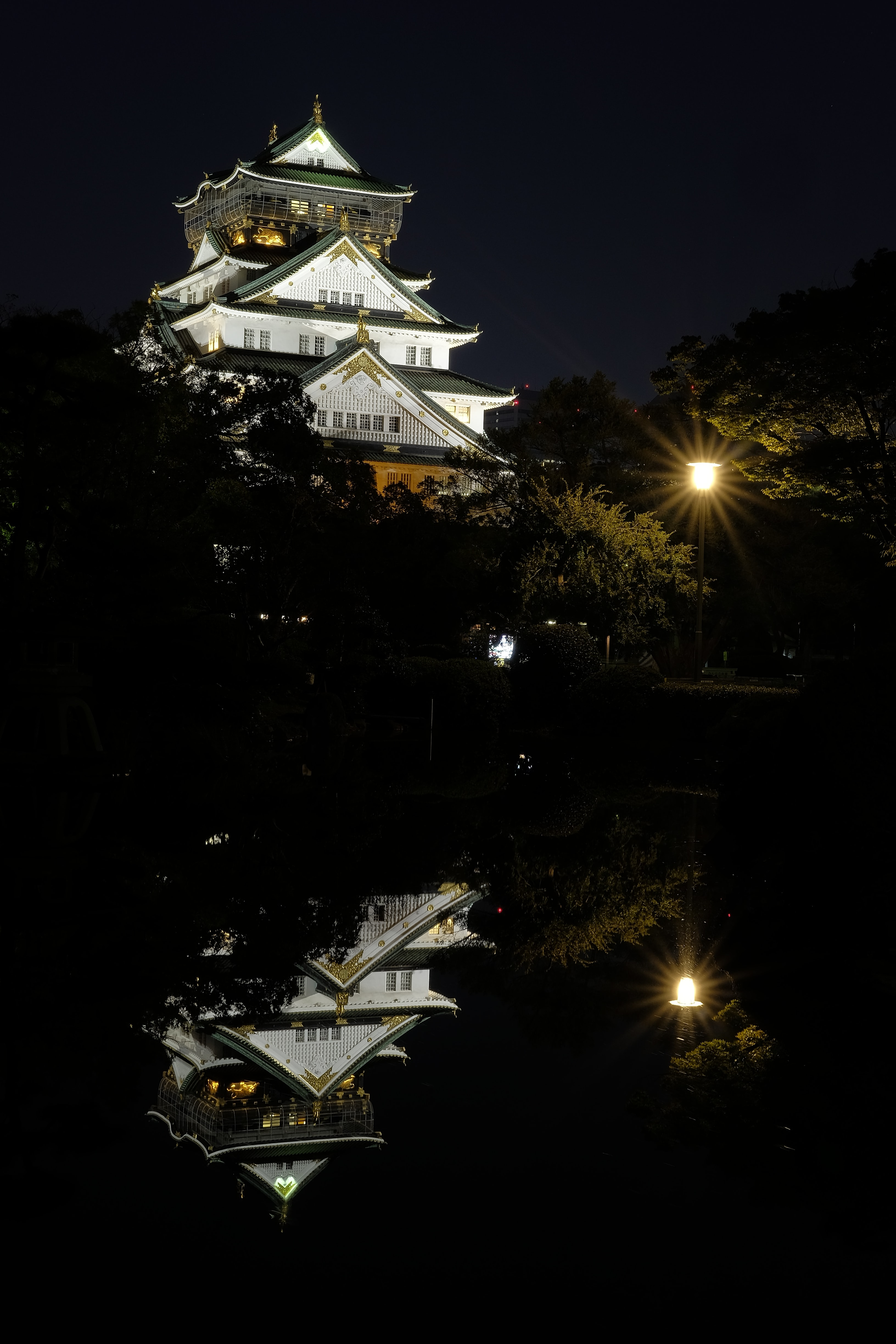 A tall temple reflecting off the water at night.