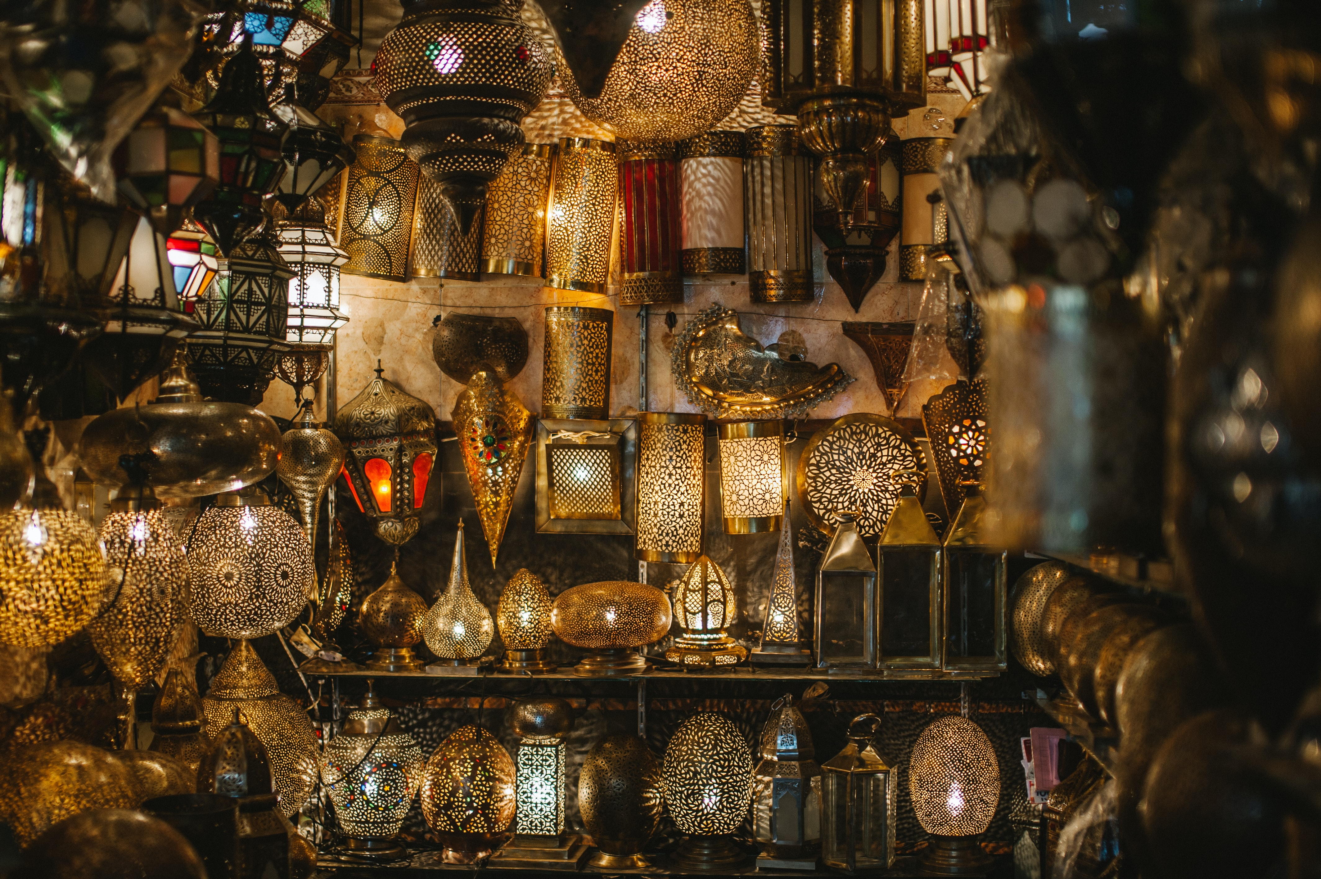 Lanterns at a stand in the souk in Marrakech