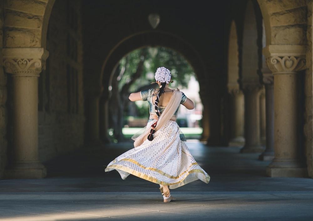 woman running on hallway