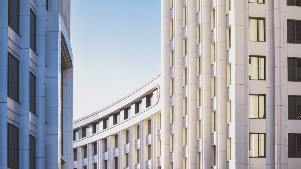 curved white concrete building