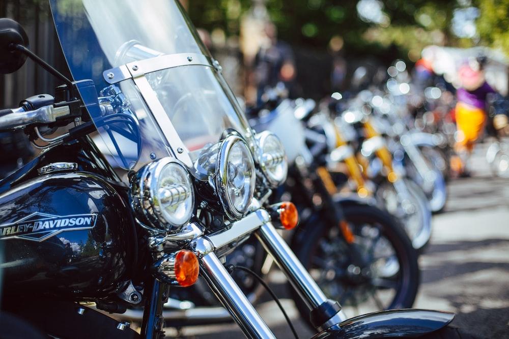 close up photo of Harley-Davidson touring motorcycle