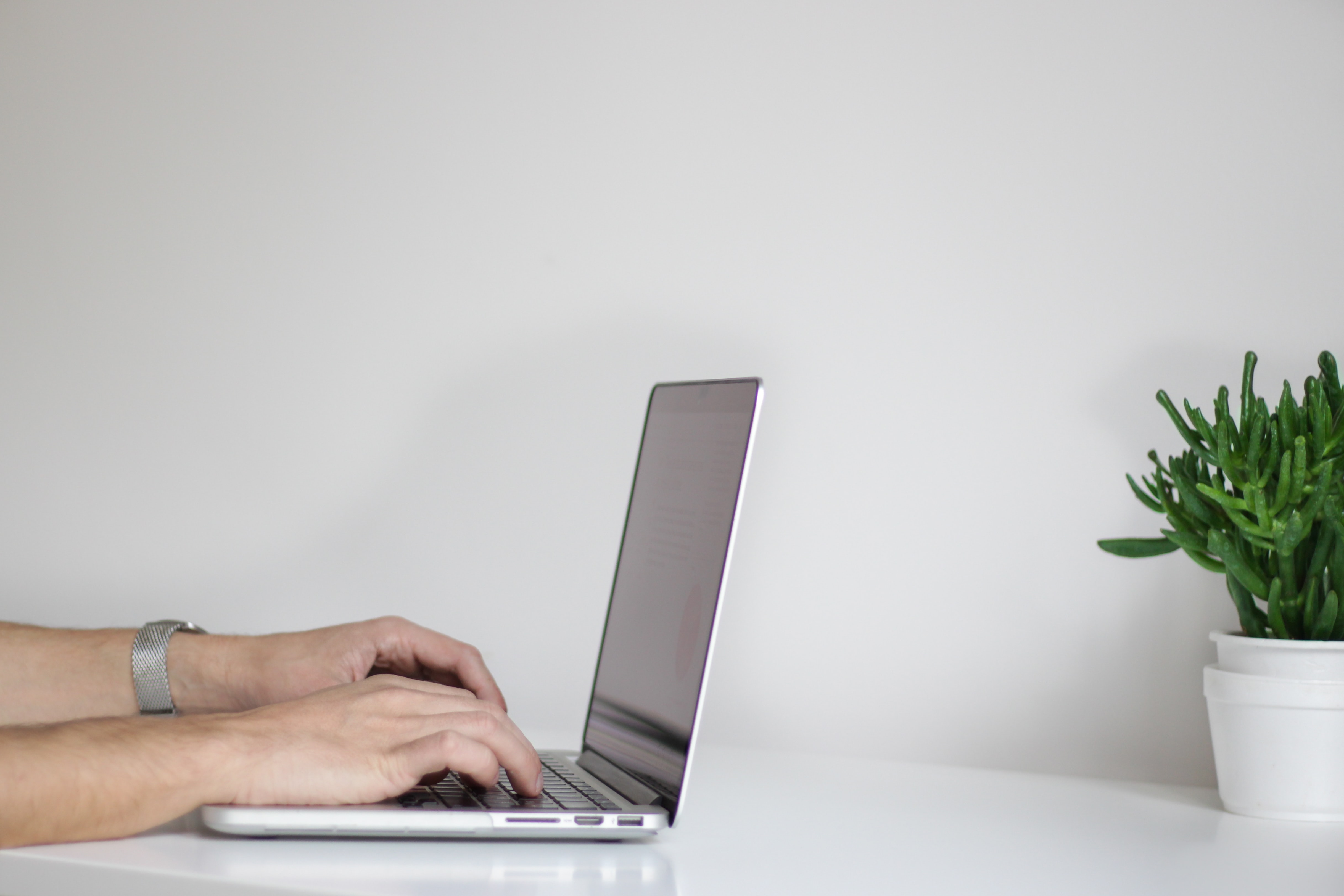 A man's hands typing on a laptop on a white desktop with a potted plant