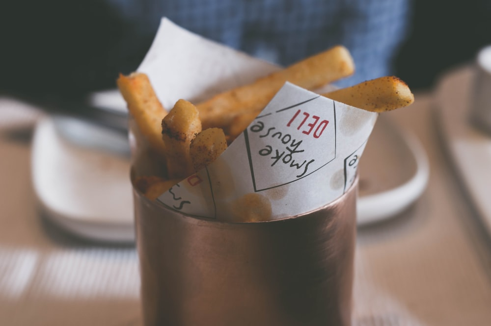 French fries on contianer