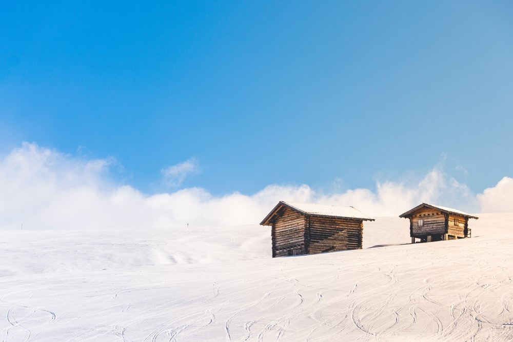 houses covered snowfield