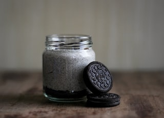 Oreo cookie and glass bottle