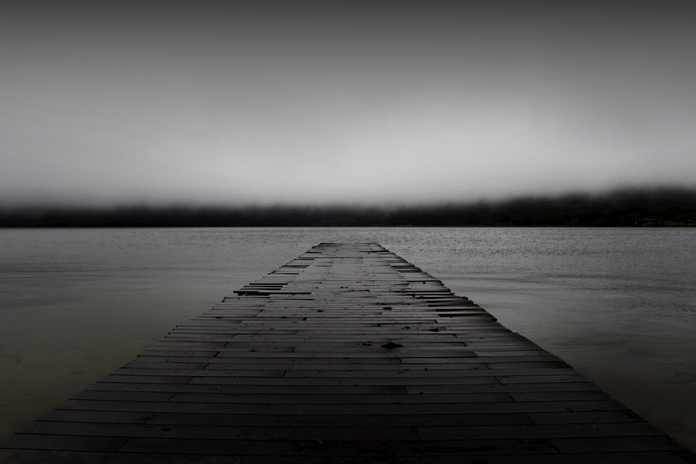 grayscale photography of dock
