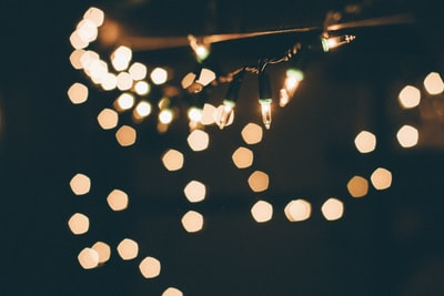 selective focus of string lights christmas eve zoom background