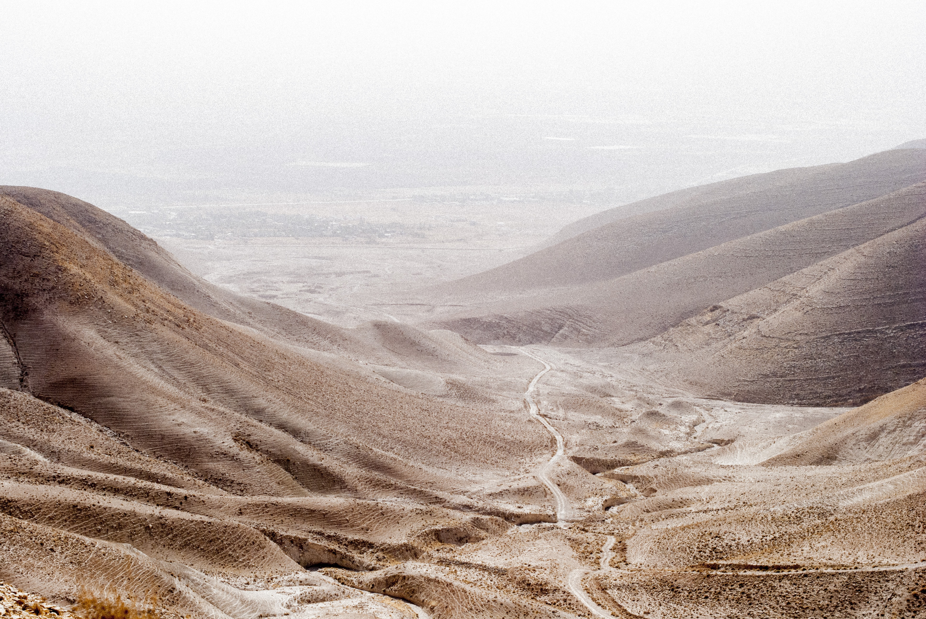 Desert mountains on an overcast day in Jordan Valley
