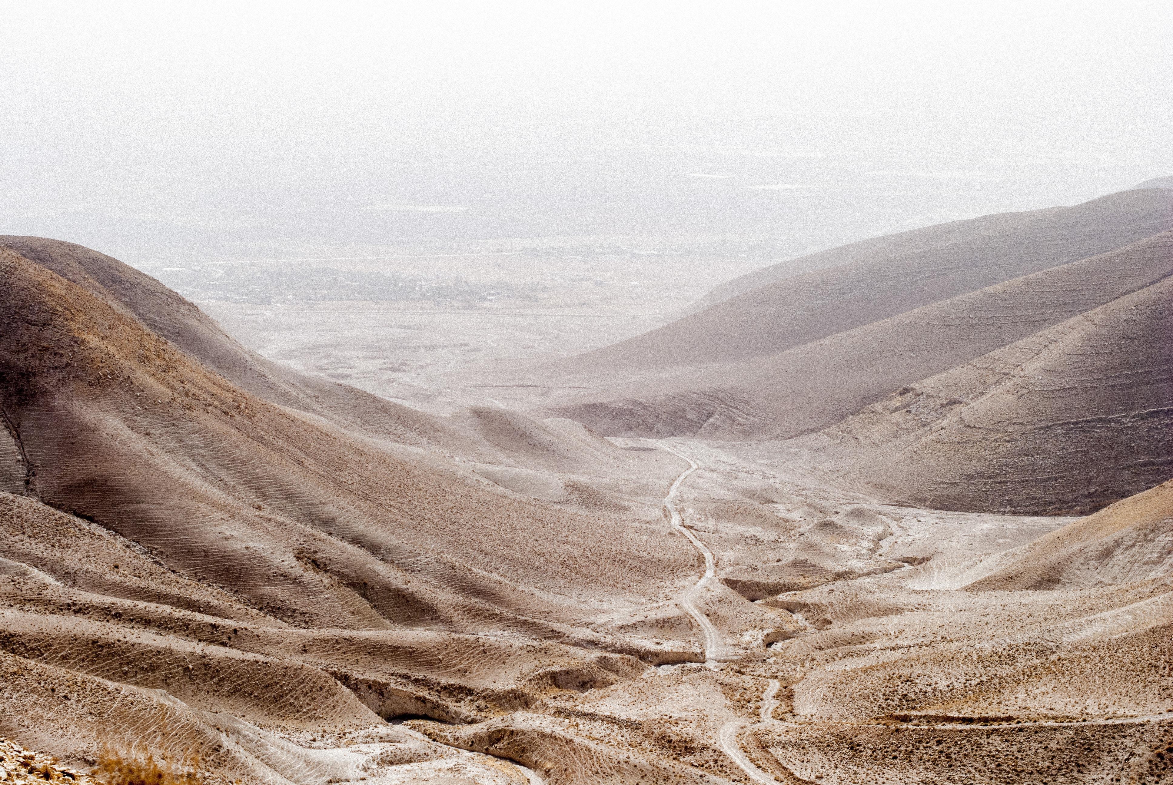 Desert mountains on an overcast day in Jordan Valley