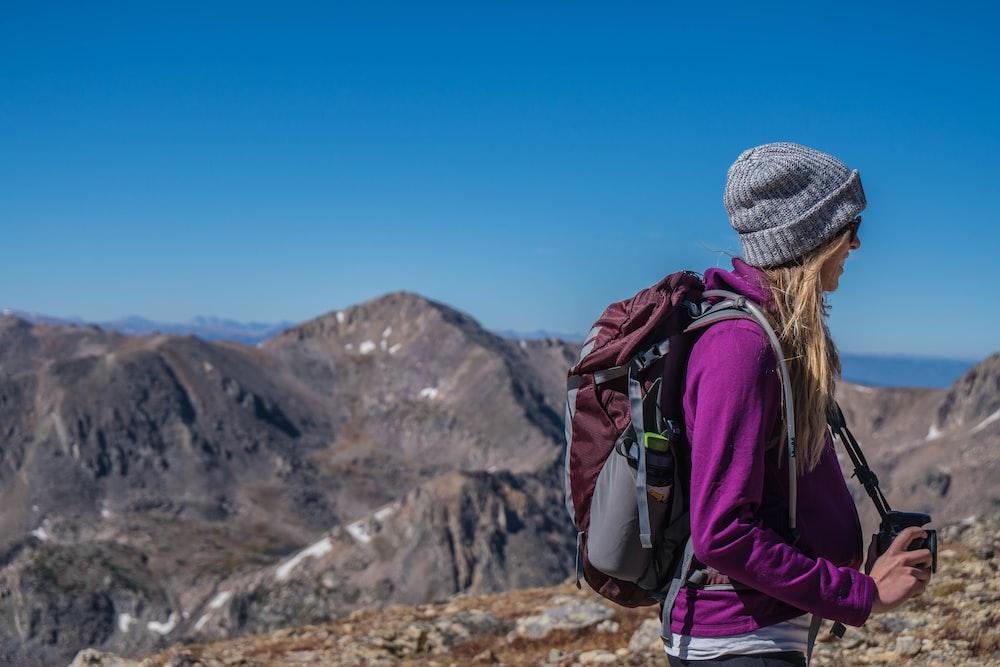 woman hiking on mountain