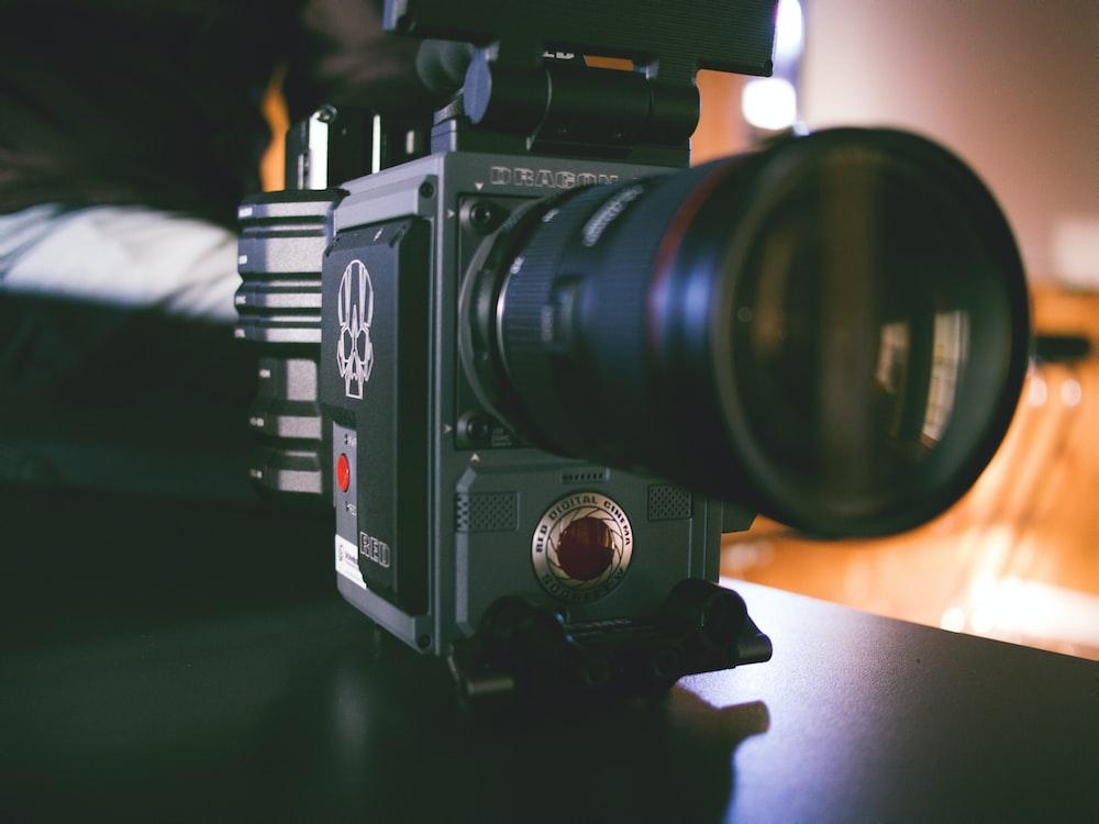black DSLR camera in macro photograohy