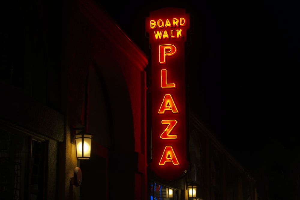 Board walk plaza neon signage