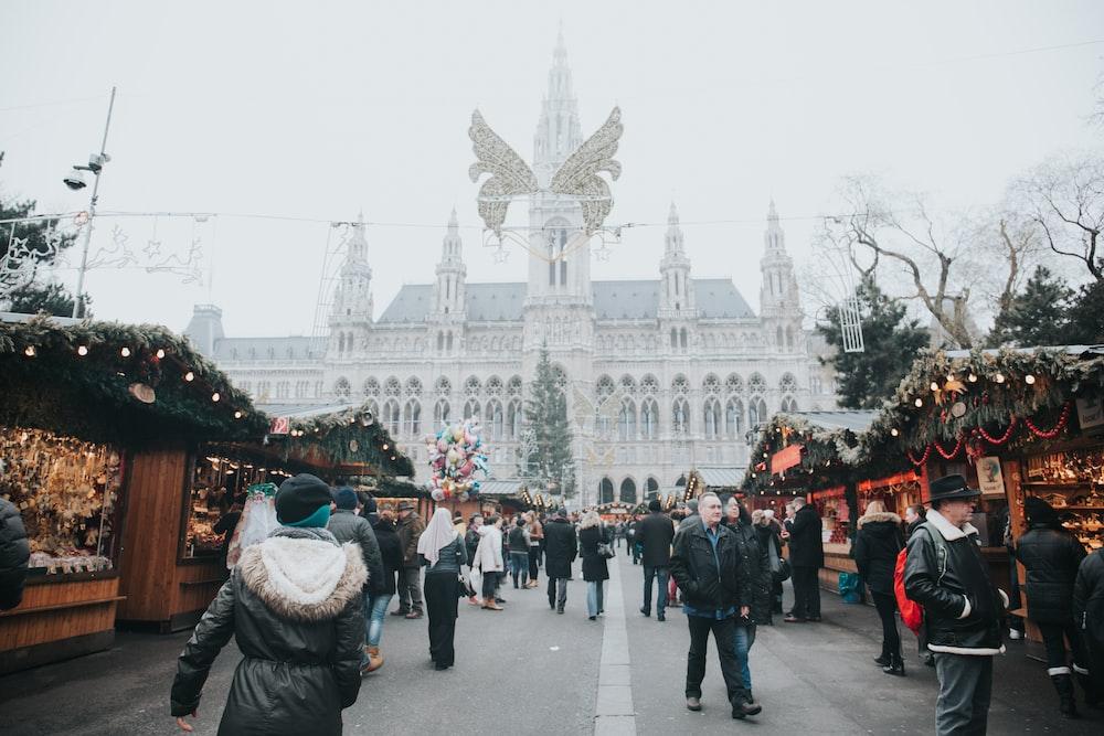 people walking on market
