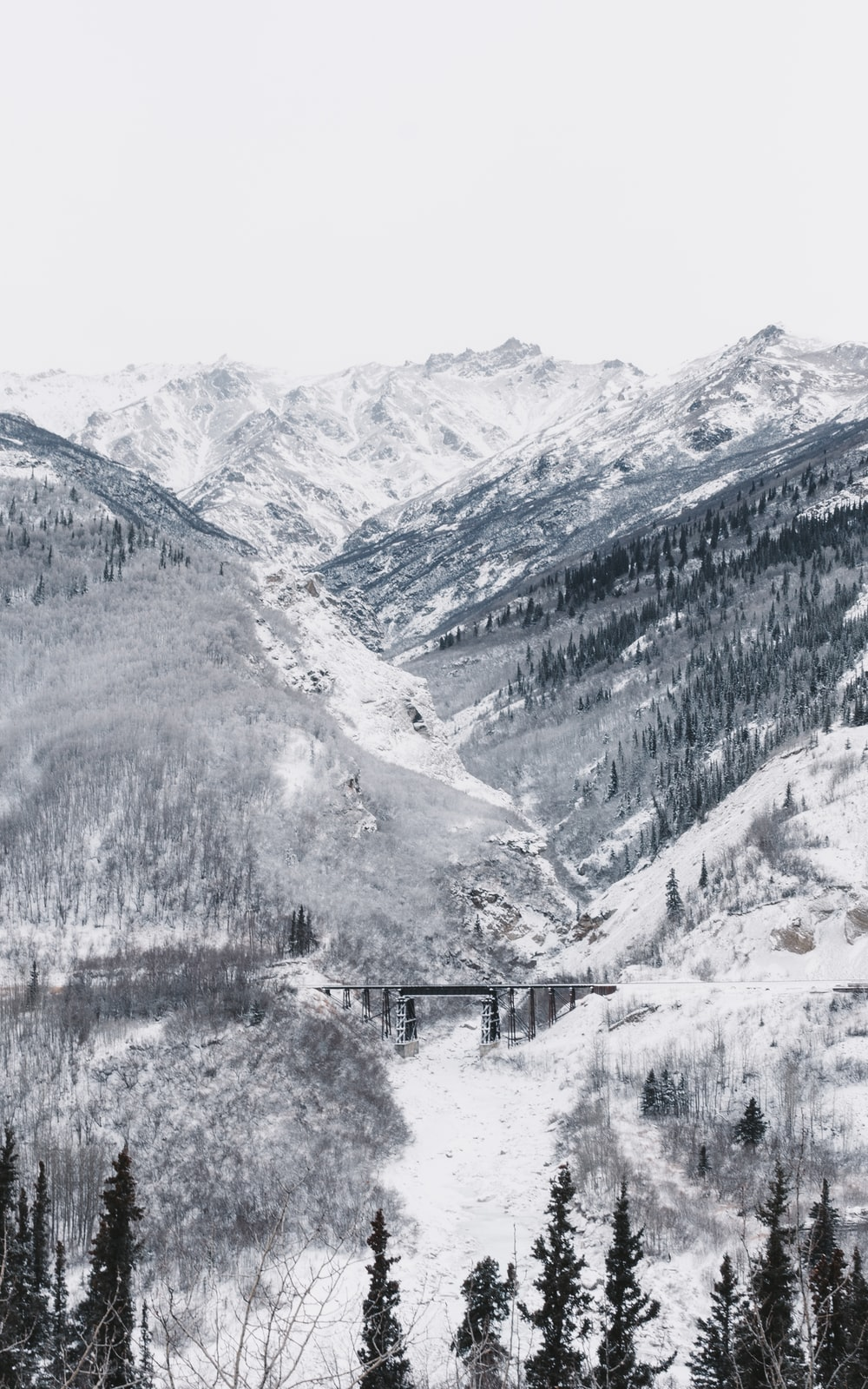 black bridge surrounded by mountain covered with snow under white sky