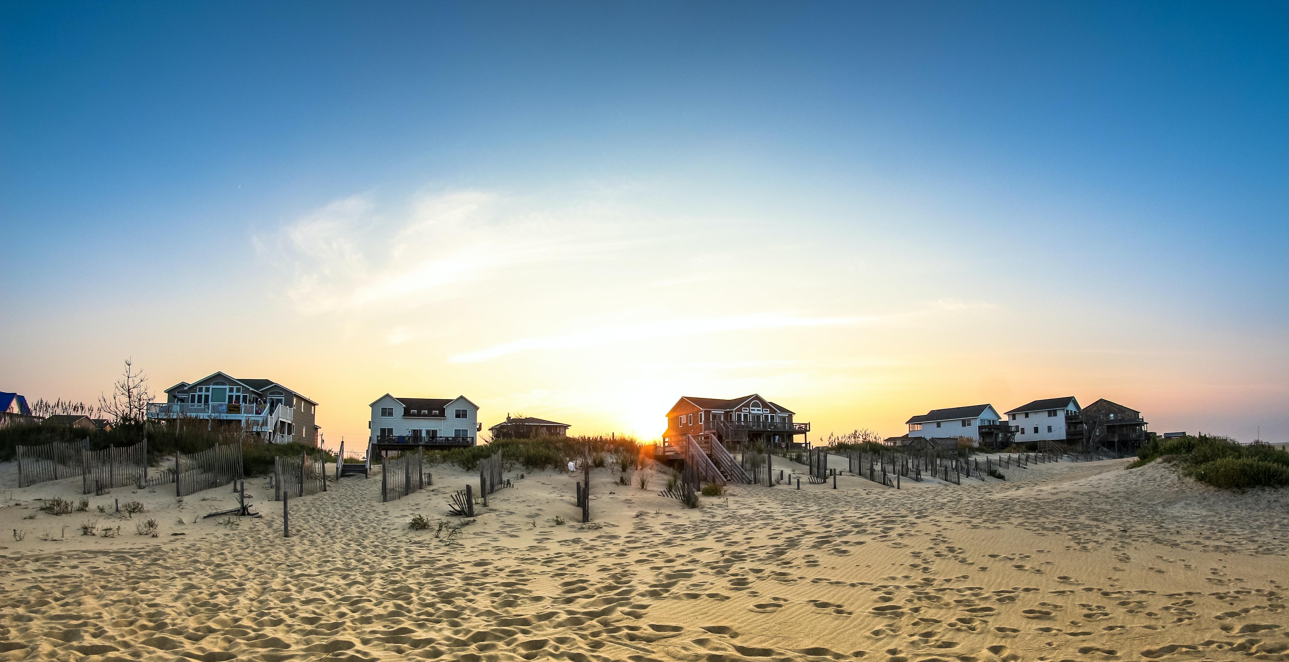 Coastal houses by the sandy beach at Nags Head