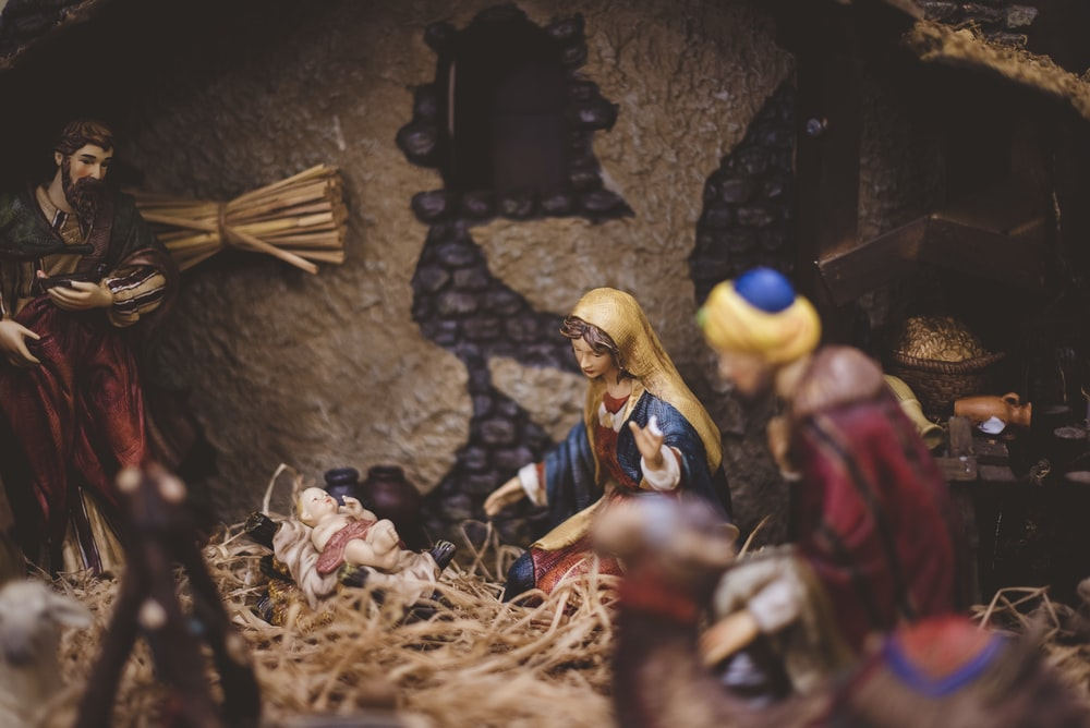 The Nativity figurine closeup photography