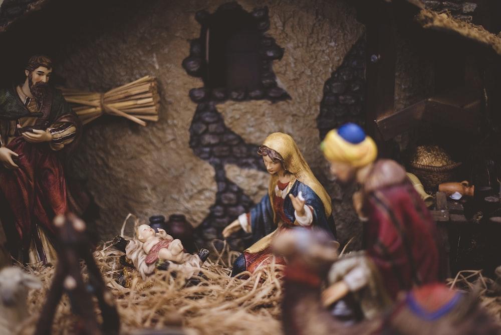 The Nativity figurine closeup photography
