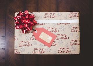 red ribbon on gift box