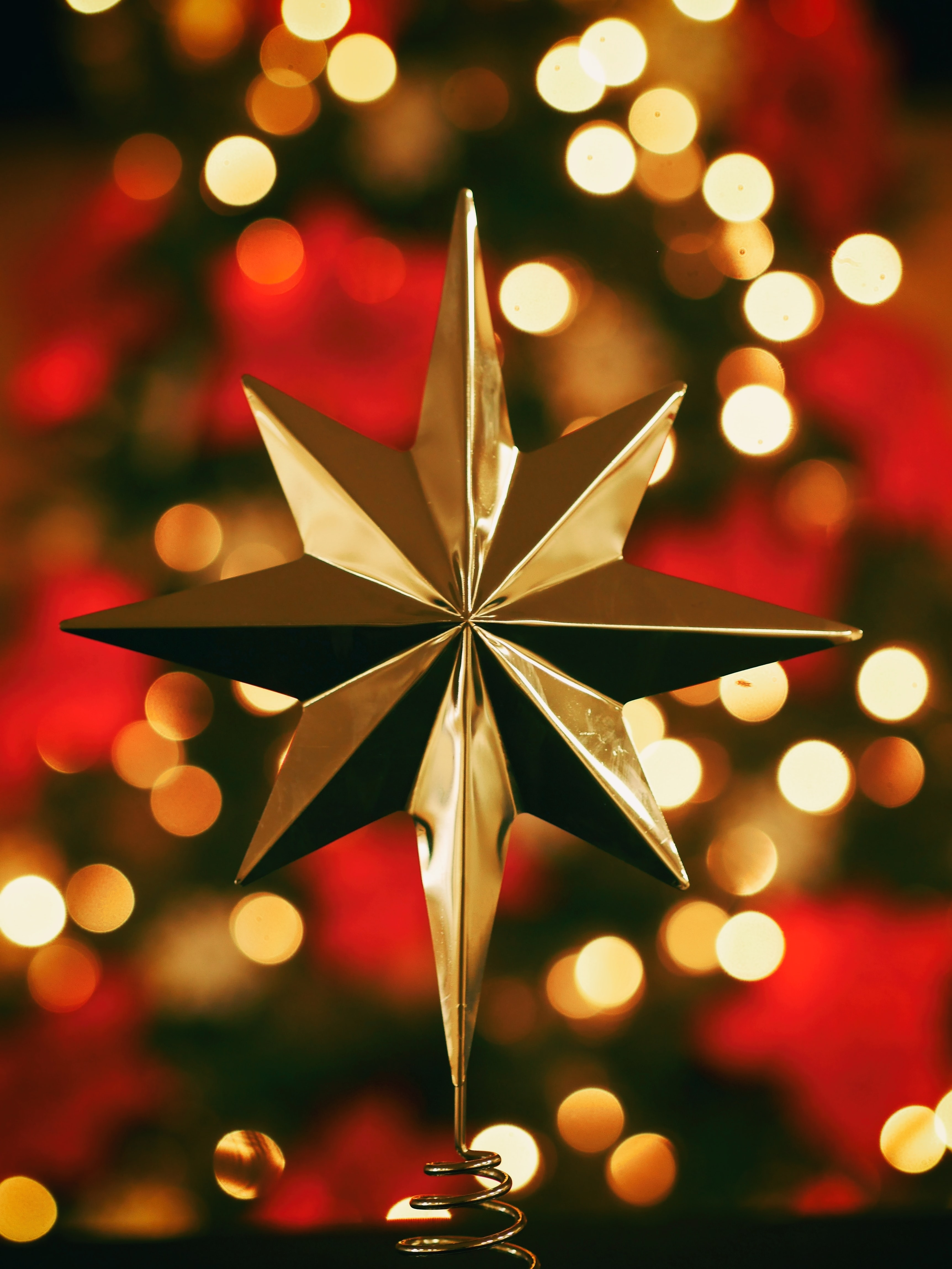 Single gold star in center with unfocused Christmas lights and flowers behind at Christmastime