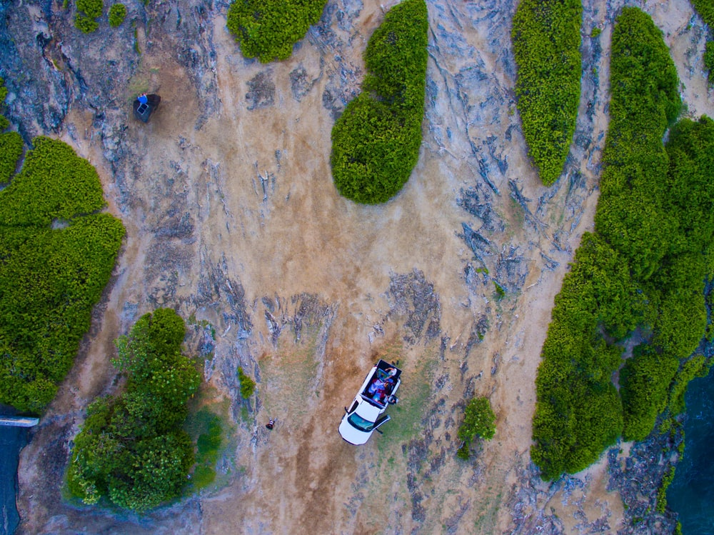 bird's eye view of white car near green hills