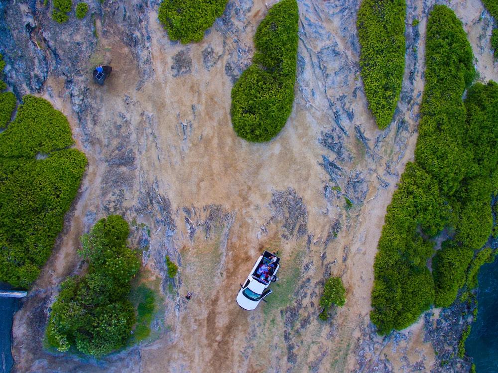 bird's eye view of white car near green hills