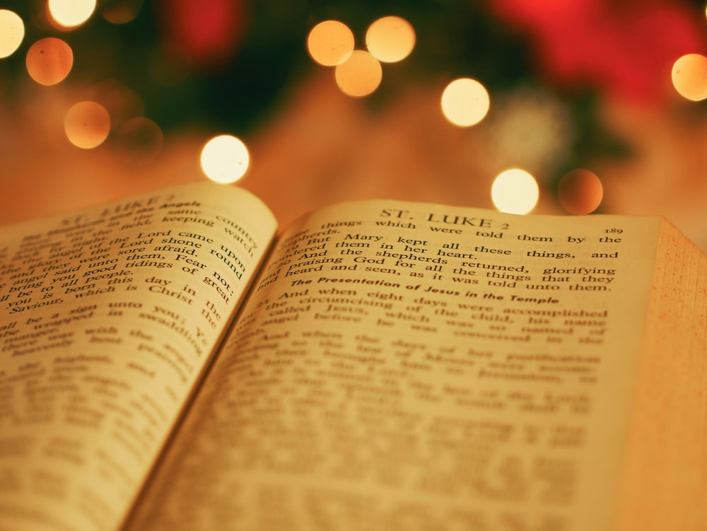 opened bible with bokeh light background