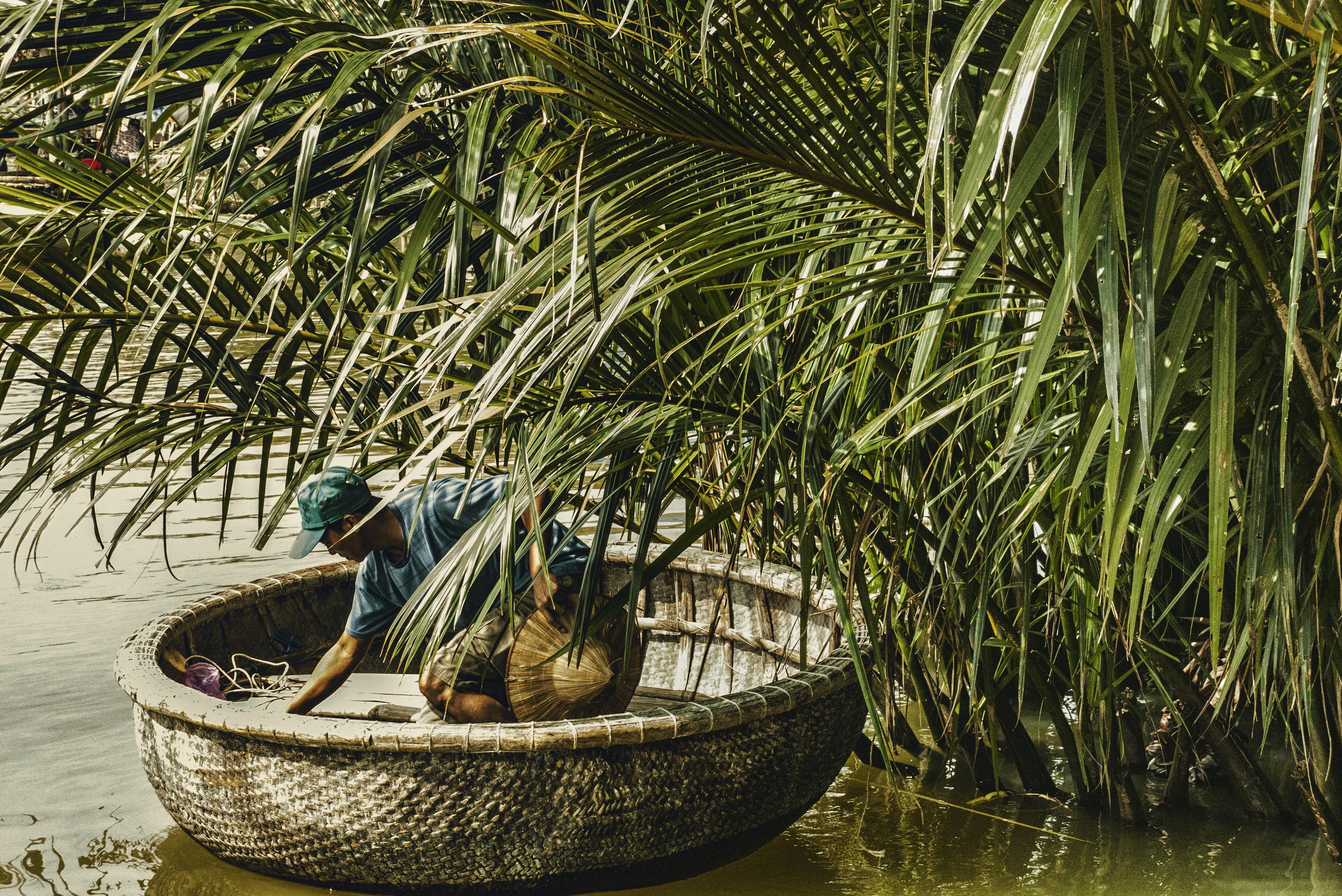 man in brown wicker basket