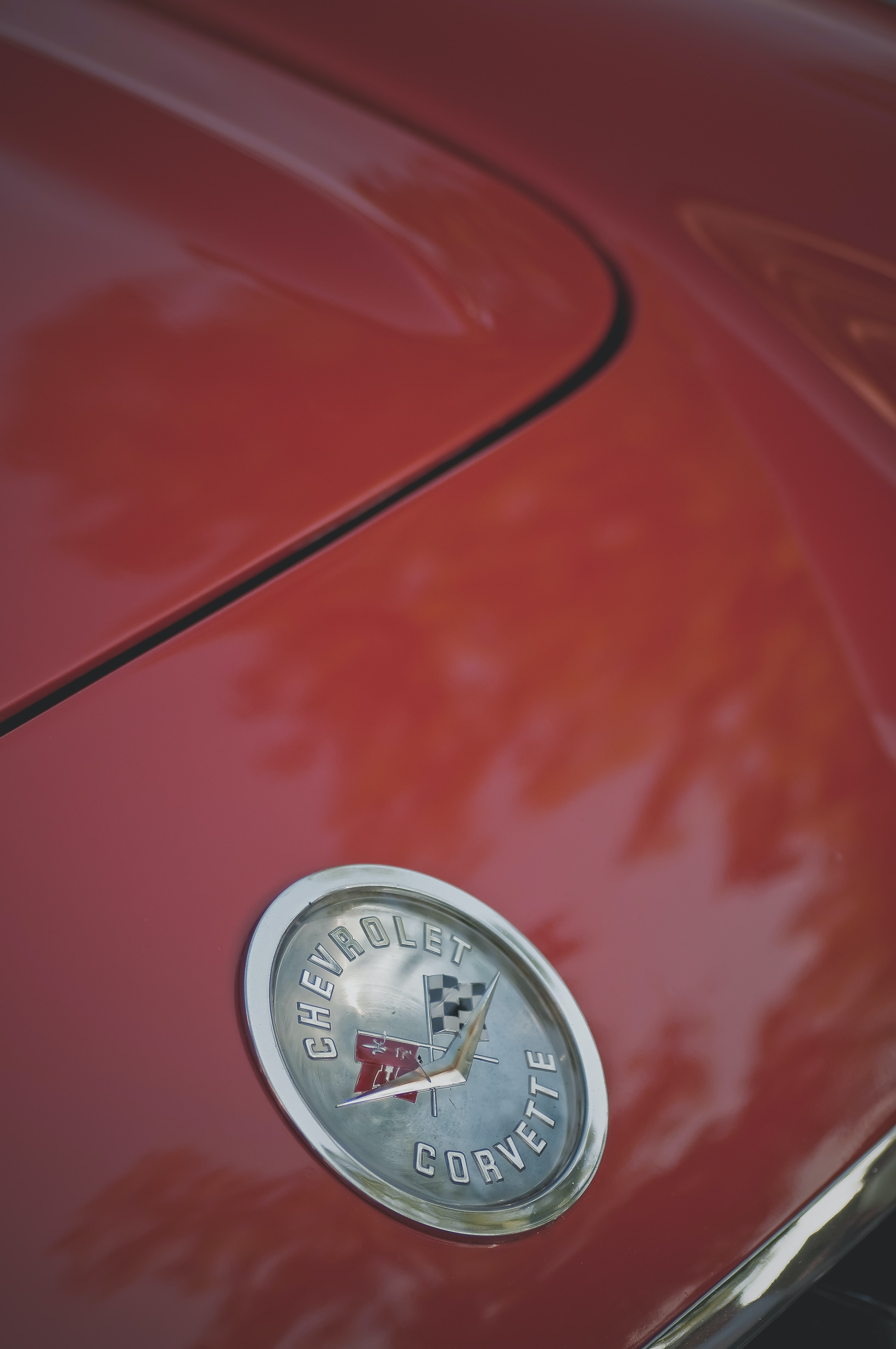 Close up of the hood of a Chevrolet Corvette.