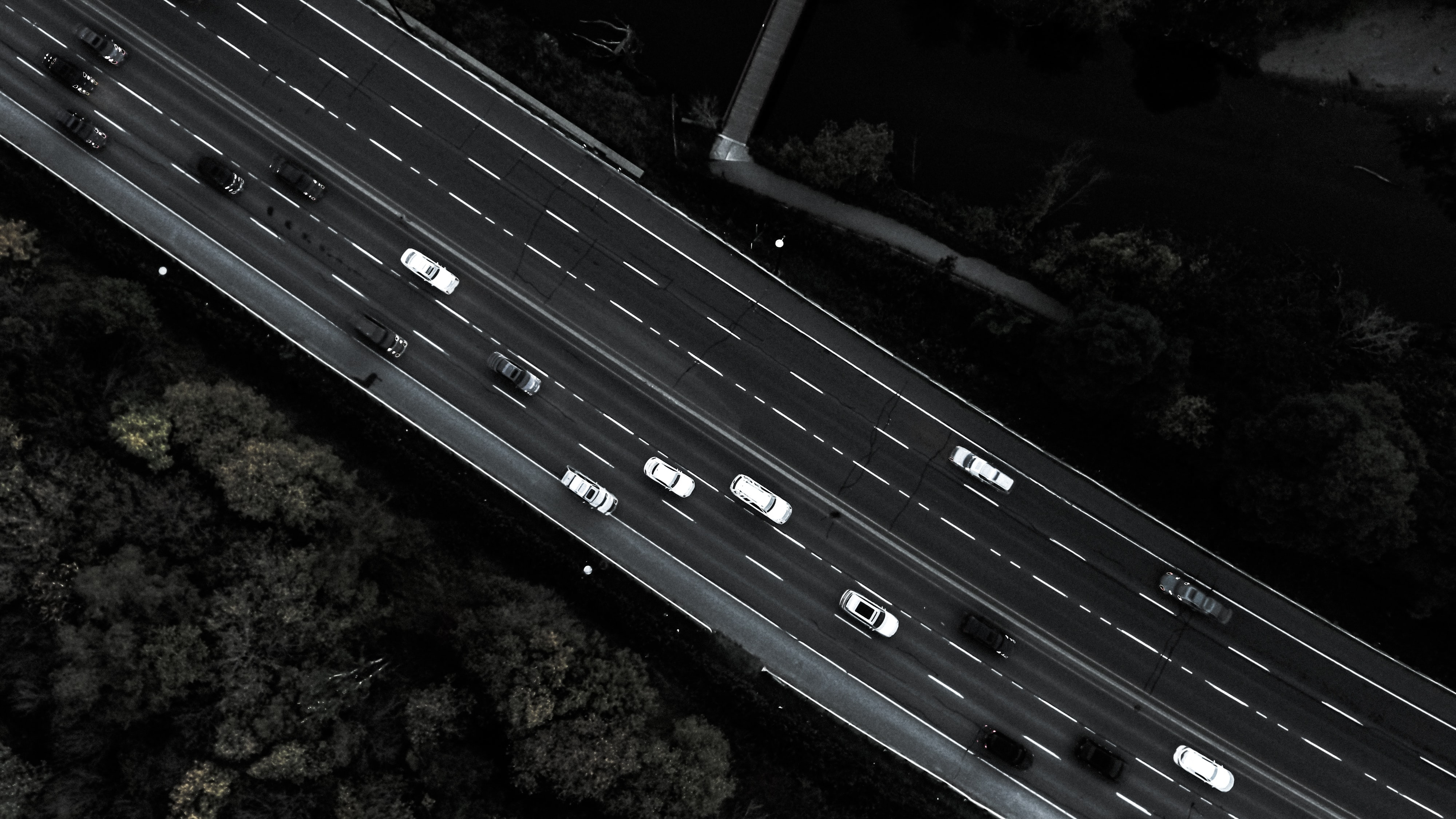 aerial photography of road with cards