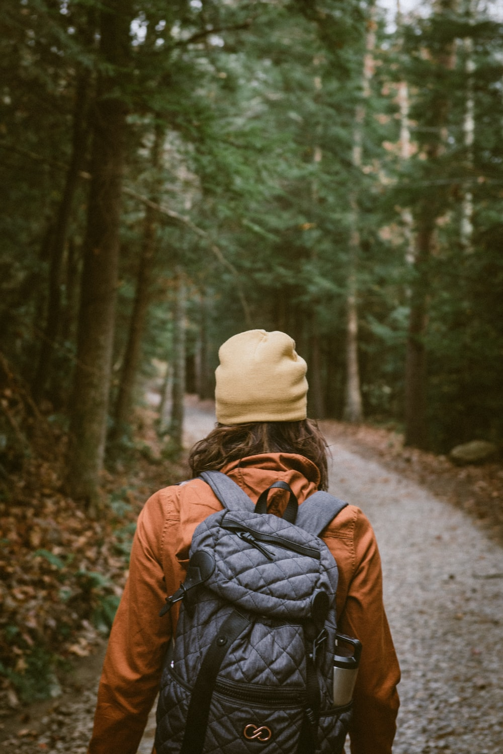 woman carrying backpack walking towards the forest