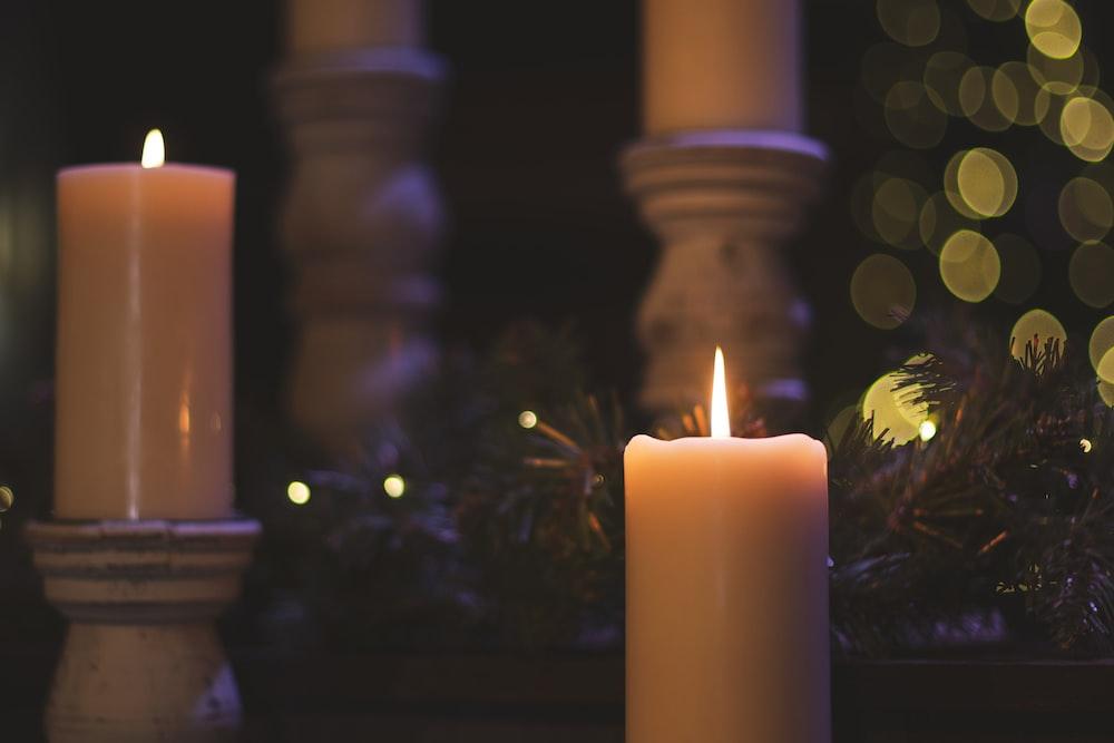 lighted pillar candles