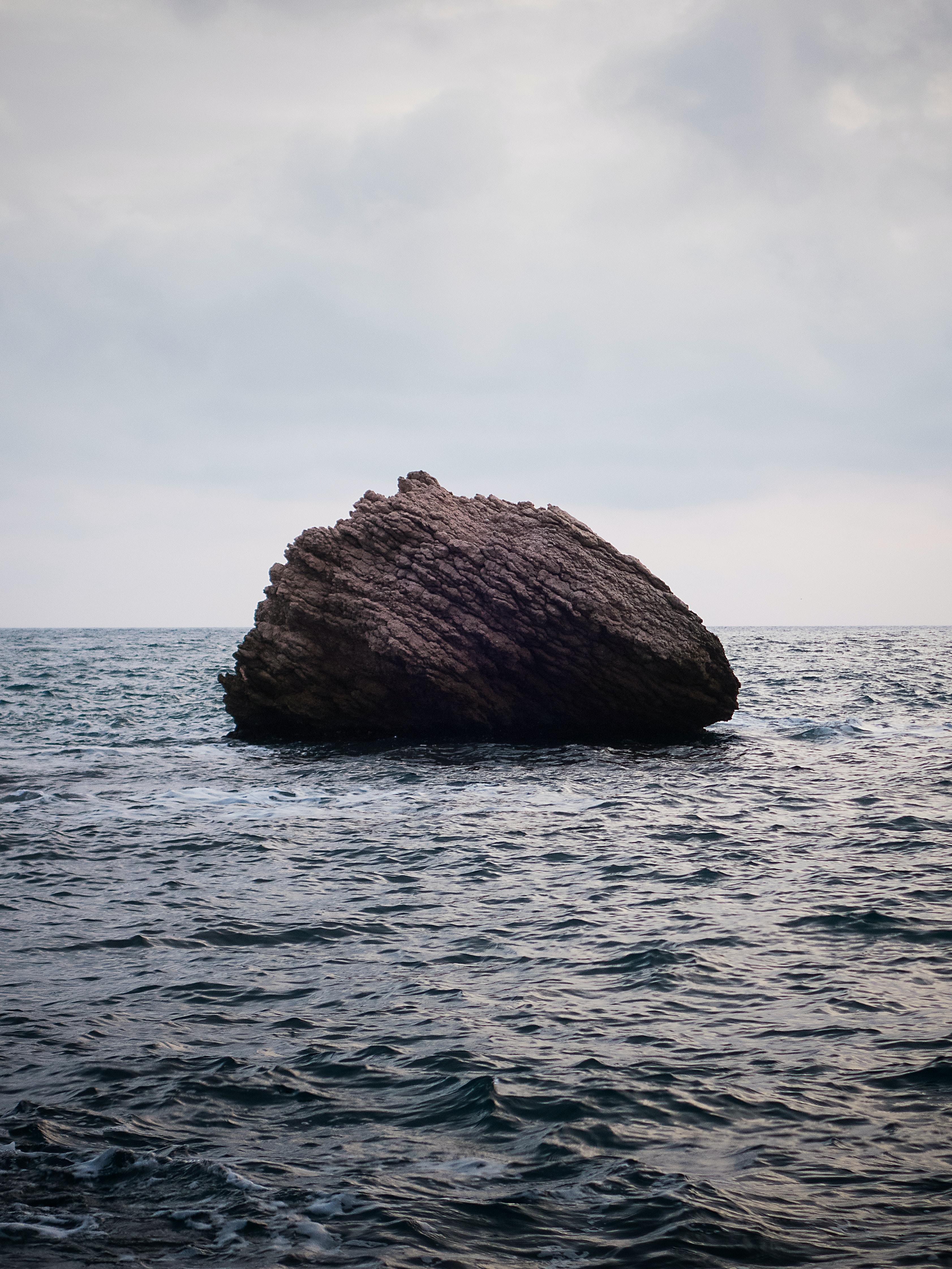 brown boulder on water