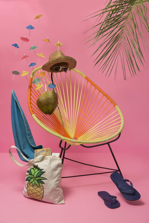 blue flip-flop beside chair